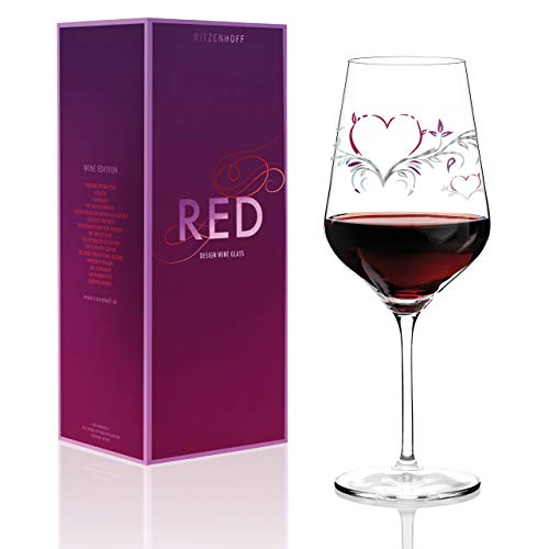 RITZENHOFF Red Rotweinglas von Kurz Kurz Design, aus Kristallglas, 580 ml, mit edlen Platinanteilen