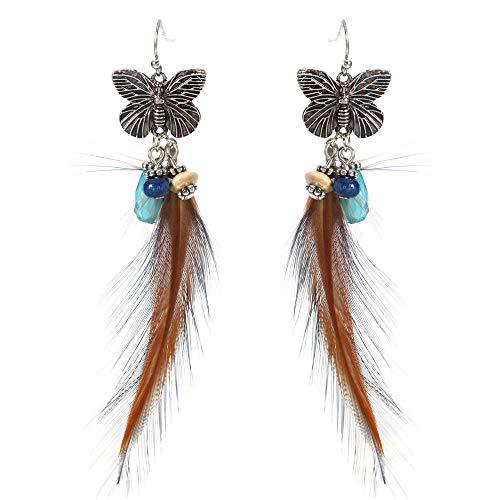 GGSDDU Pendientes largos lindos para mujer con plumas de mariposa, color étnico, plumas y borla, para regalo de fiesta de cumpleaños