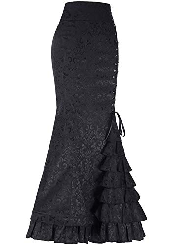 chouyatou Women's Retro Lace-Up Drawstring Tiered Ruffle Maxi Long Mermaid Pencil Skirt (Large, Black)