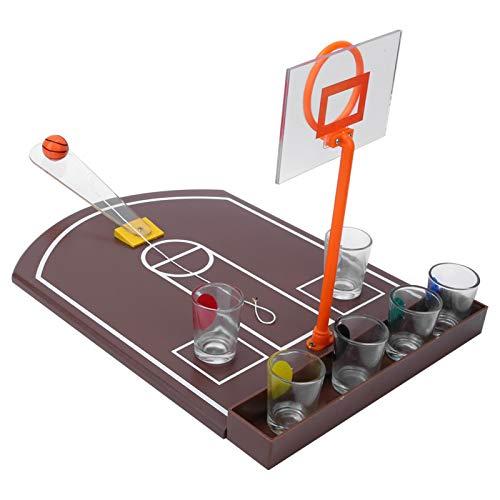 Juego de beber de baloncesto estable, juego de beber cerveza portátil, mesa innovadora de juguete, para el ocio con 6 piezas de vidrio