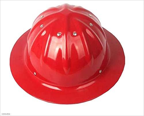 ZAT Cascos de Aluminio, Grandes Sombreros Casco for la construcción del Casco al Aire Libre con Sol Sombra de ala Ancha (Color : Red)