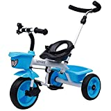 JoyRide Metal Tricycle with Parent Push Handle (Blue)