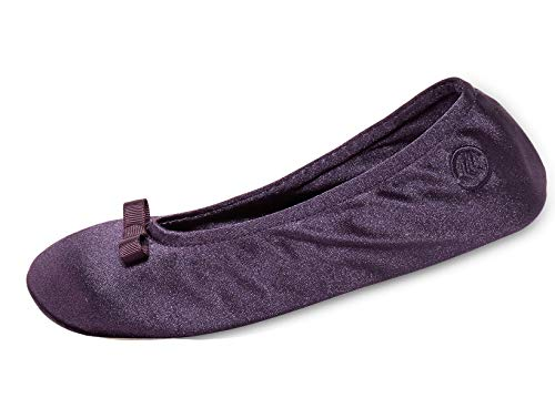 isotoner Women's Satin Ballerina Slipper (5-6 M US, Purple)