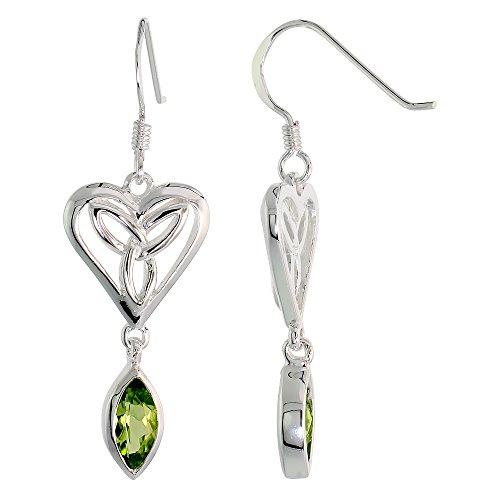 Sterling Silver Peridot Triquetra Earrings Celtic Heart Dangling Fishhook Flawless Finish, 1 1/2 inch