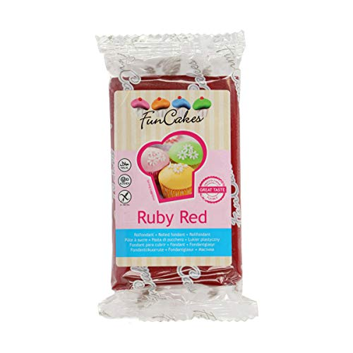 FunCakes Fondant Rojo Rubí: Fácil de Usar, Suave, Flexible, Suave y Flexible, Perfecto para Decorar Pasteles, Halal, Kosher y Libre de Gluten. 250 gr