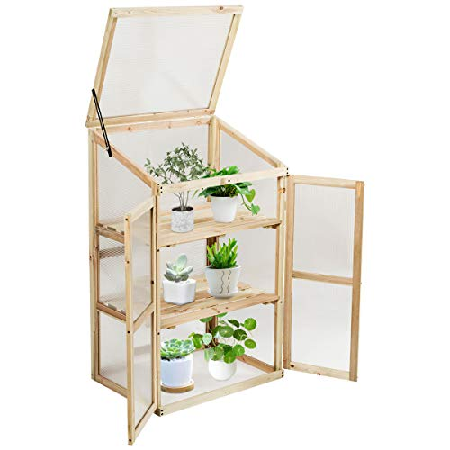 GYMAX 3 Tiers Plant Wooden Greenhouse, Flower Vegetable Cold Frame Transparent Growhouse for Garden, Backyard, Balcony and Patio