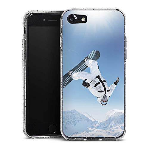 DeinDesign Glitzer Hülle kompatibel mit Apple iPhone 7 Silikon Case Glänzend Schutzhülle Snowboard Snow Schnee
