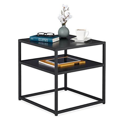 Relaxdays Beistelltisch schwarz, quadratischer Couchtisch, Metall & MDF, modernes Design, Wohnzimmer, 50x50x50cm, black