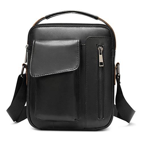 BAIGIO Men Cowhide Leather Messenger Bag Small Retro Crossbody Bags Casual Shoulder Satchel,Black-2