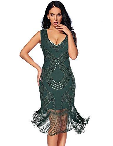 Women's 1920s Gatsby Dress V Neck Sequin Beads Cocktail Flapper Dress (S,Green)