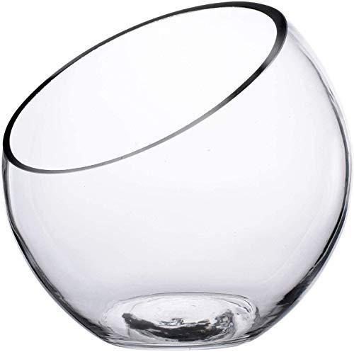 "KNIKGLASS Clear Glass Vase Glass Terrarium Slant Cut Bubble Bowl, Fruit Container, Fish Bowl & Plant Terrarium, Slant Cut Globe Vase Center Piece, Round Flower Vase, Pack of 1 (7"" Tall 7"" Wide..."