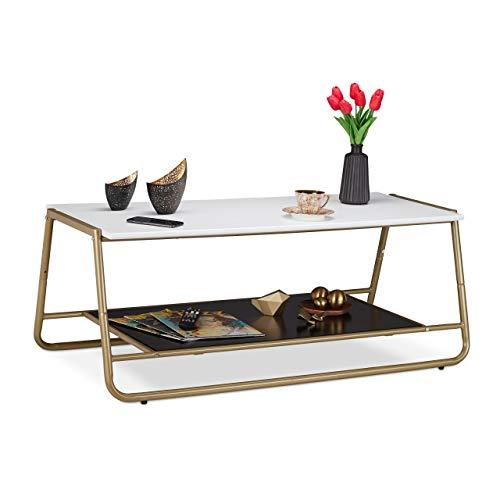 Relaxdays salontafel, gouden metalen poten, 2 tafelbladen, decoratief, moderne woonkamertafel, HBT 42 x 110 x 55 cm, wit, MDF, metaal, 42 x 110 x 55 cm