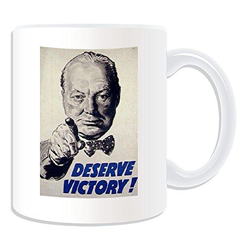 Regalo personaliseitonline - Merece la Victoria taza (Guerra cartel diseño tema, blanco) - nombre/mensaje en su único - gran Bretaña britanos primera 1st segundo 2 WW1 WW2 mundo reclutamiento alistarse Victoria fonezilla soldado Winston Churchill
