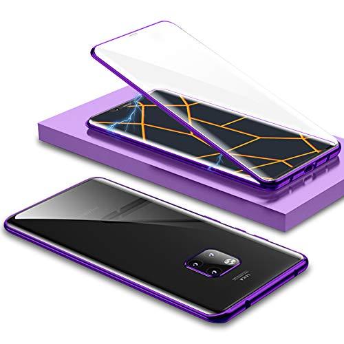 EATCYE Kompatible mit Huawei Mate 20 Pro Hülle, Ultra Dünn Magnetische Adsorption Metallrahmen Hülle 360 Grad Komplettschutz mit Doppelseitig Gehärtetes Glas Transparente Displayschutzfolie (Lila)