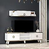 Sophia Wohnwand – Wohnzimmer TV Set – TV Schrank – TV Lowboard – Fernsehtisch - TV Möbel mit 2 Türen und Wandregal in glänzendem Design (Weiß)