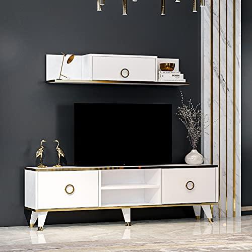 SOPHIA Set Soggiorno - Parete Attrezzata - Mobile TV Porta con 2 Armadietti per Salotto con mensola da muro in Moderno Design (Bianco)