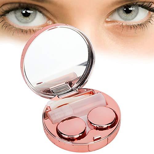 Kontaktlinsenbox, Kontaktlinsen Aufbewahrungsbox Tragbare runde reflektierende Kontaktlinsen Behälterbehälterhalter mit Pinzette und Lösungsflaschenspiegel für Frauen Mädchen(Roségold)