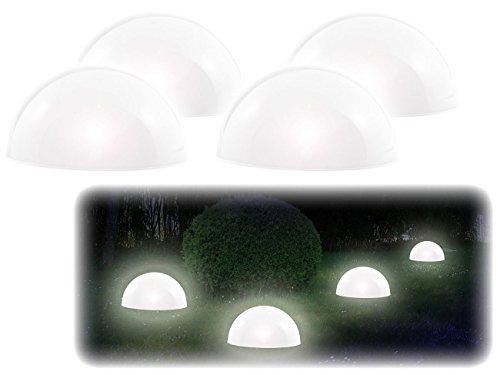 Lunartec LED Solar Halbkugel: Solar-Leuchthalbkugel mit weißen LEDs, 4er-Set (Solar Bodenlichterkette Halbkugel)