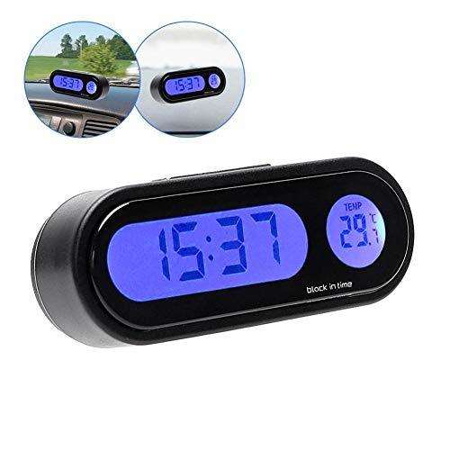 ETbotu Mini-Elektronische Uhr für Auto, Armaturenbrett-Uhr, beleuchtetes Thermometer, Schwarz