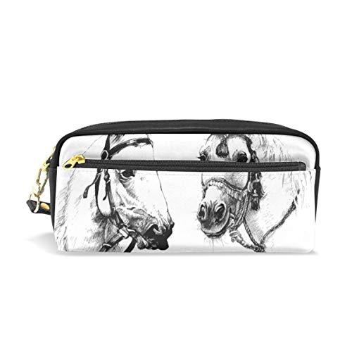 Zwarte en witte inkt hand getekende paarden PU lederen potlood Case Pen Bag Pouch Case make-up cosmetische tas