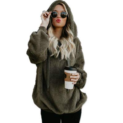 YYXDP New Sudadera Long Sleeve Ladies Sweater Fleece Jacket Sudadera con Capucha