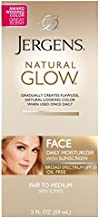 Jergens Natural Glow Face Moisturizer with SPF 20, Self Tanner for Fair to Medium Skin Tone, 2 Ounce, Daily Facial Sunscreen Lotion, Oil Free