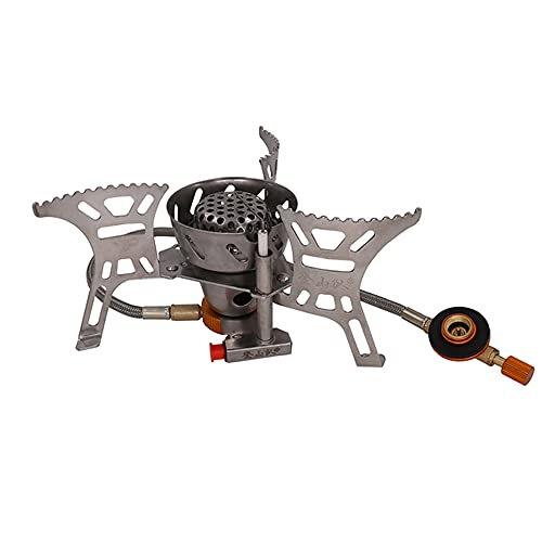 Camping Stove with Piezo Ignition,Portable Windproof Camping Gas Stove with Adapter Convertor for Traveling Trekking Picnic