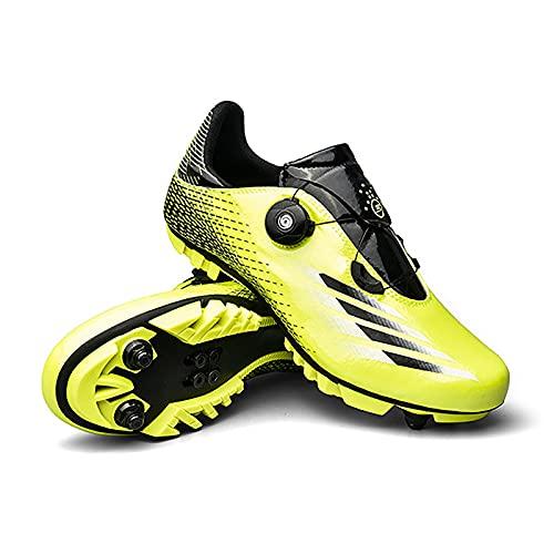 GSYNXYYA Zapatillas de Ciclismo, Zapatos de Bicicleta para Hombre de TPU Ligera, TPU, Zapatos de Bloques MTB Transpirables, sin Bloqueo Transpirables, Antideslizante (37-46EU),Verde,37 EU