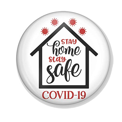 Gifts & Gadgets Co. Stay Home Stay Safe Covid-19 Fridge Magnet 38 mm Printed Round Refrigerator Magnets