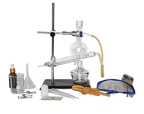 Lab Vetreria Kit Distillazione Vetro Apparato Distillatore di Olio Essenziale Distillatore di Acqua Depuratore Fare Il Tuo Olio Essenziale, Moonshine 150ML (Condensatore Diritto)