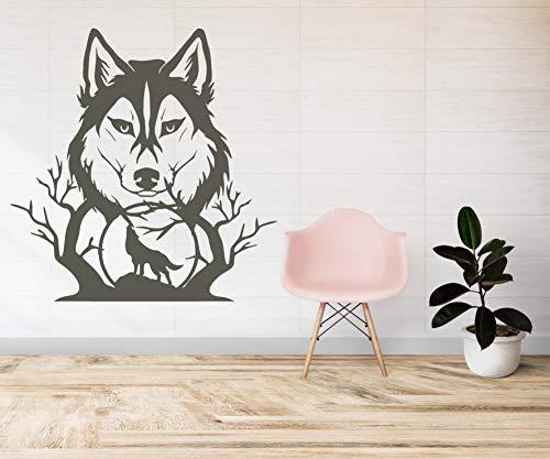Skins4u Wandtattoo Wandaufkleber Wandsticker Wolf Wölfe Mond Baum Wanddeko Wandbild Dekoration 100x100cm