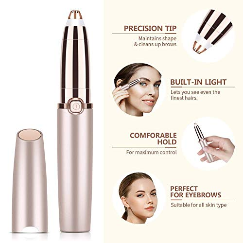 Painless Women's Portable Safe Battery Operated Painless Electric Eyebrow Trimmer Facial Hair Remover (Rose Gold)