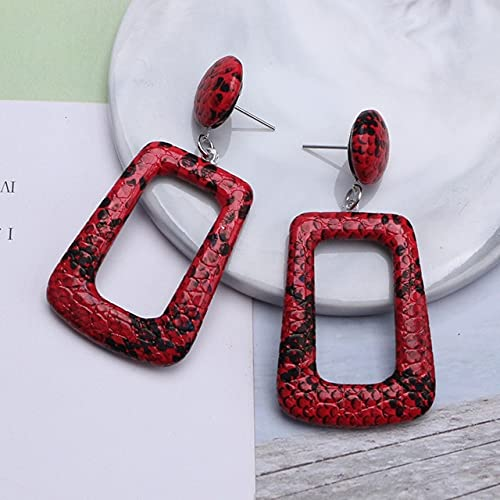 2 Pairs Hollow Geometric Drop Earrings For Women Vintage Big Statement Earrings Snake Skin Party Jewelry Gift