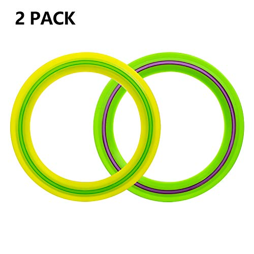 OUOnDAD Frisbee for Kids Adults 11 inch Frisbee Flying Disc Ring Outdoor GamePack of 2 Summer Outdoor Toys Activity Game Toy for Boys Girls Family Children Camping Party FavorsYellowampGreen