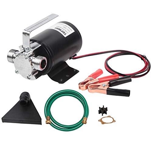 TOPWAY 12V DC Water Transfer Electric Sump Utility Pump 330 GPH 1/10HP with Water Hose Kit