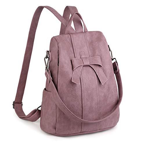 UTO Anti-Theft Women Backpack 3 Ways Convertible Ladies Rucksack Shoulder Bag Handbag PU Washed Leather Bowknot Decoration Purple