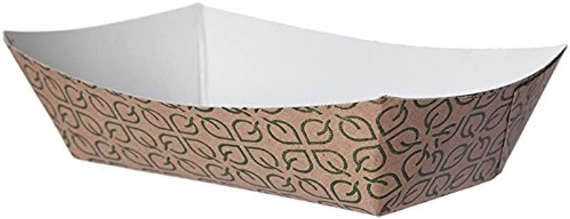 Eco Products Inc EP FT100 1lb Compostable Paper Food Tray Green Leaf Print Design Pack Of 1000
