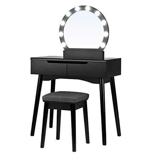 SONGMICS RDT11BL-Tocador con iluminación (Espejo y Bombillas, para un Maquillaje, Taburete Acolchado, 2 cajones Grandes), Color Negro, Madera, 80 x 40 x 130,5 cm