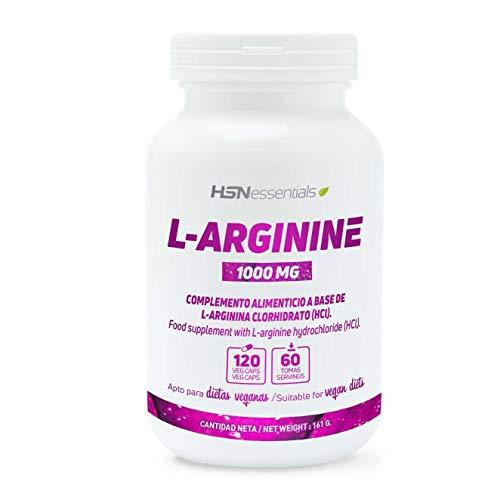 Arginina 1000mg de HSN | Óxido Nítrico, Mejora el Rendimiento Deportivo, Vasodilatador, Potencia la Calidad de Relaciones Sexuales | Vegano, Sin Gluten, Sin Lactosa, 120 Cápsulas Vegetales