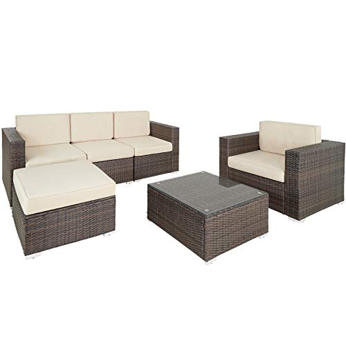 tectake 800788 Rattan Lounge, Garden Furniture Set, Chairs & Table, UV-Resistant Polyrattan, Outdoor Living Room Patio, incl. Cushions (Black-Brown)