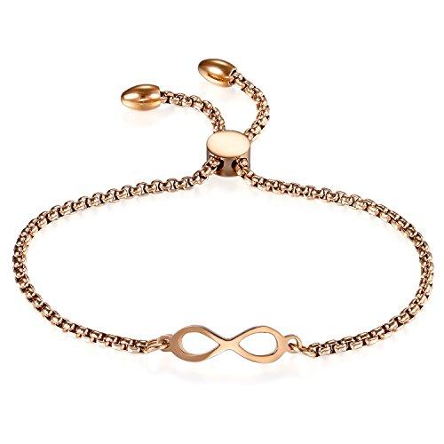 JewelryWe Schmuck Damen Armband, Lieben Infinity Unendlichkeit Zeichen Verstellbar Charm Armkette Armreif, Edelstahl, Gold