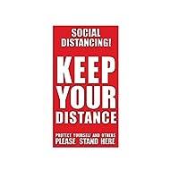 ACAO 10ピースあなたの距離を保つ社会距離マット安全床サインマーキングキープフロアステッカー6フィート(Size:中,Color:D1)