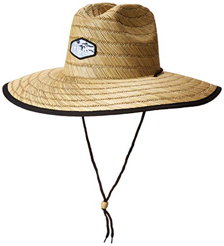 Huk Men's Camo Patch Straw Hat | Wide Brim Fishing Hat With UPF 30+ Sun Protection , Erie, OSFA