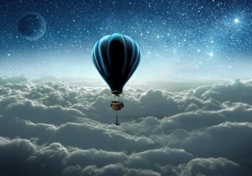 wandmotiv24 Fototapete Ballon Wolken Sterne XL 350 x 245 cm - 7 Teile Fototapeten, Wandbild, Motivtapeten, Vlies-Tapeten Anker, Planeten, Himmel M1140