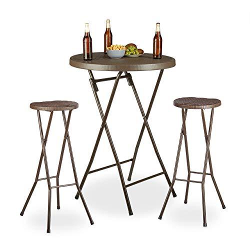 Relaxdays 3 TLG. Stehtisch Set Bastian, Stehtisch, Bistrotisch rund, 2 Barhocker, klappbar, Rattan Optik, wetterfest, braun