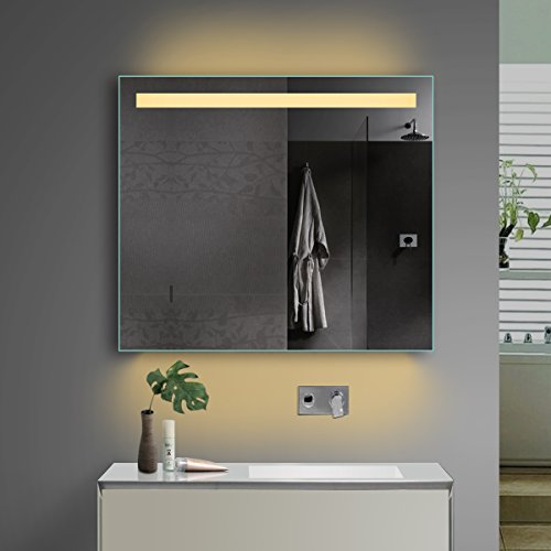 Lux-aqua LED-verlichting badkamerspiegel badkamerspiegel koud wit warm wit en stopcontact TSL80-70