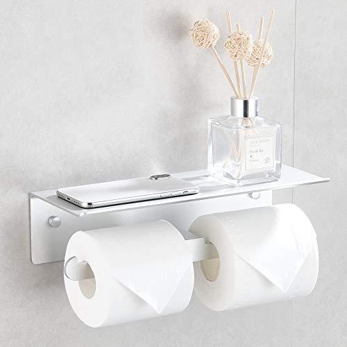 Wopeite Portarrollos para Papel Higiénico Sin Taladro Doble Portarrollos Baño Diferentes Expectativas para el Papel Higiénico Plata