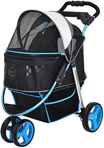 LAZNG Pet Bag Pet Stroller for Katzen/Hunde, Zipperless Eintrag, 3-Rad, ausflug Wagen, Easy One-Hand Falten,...
