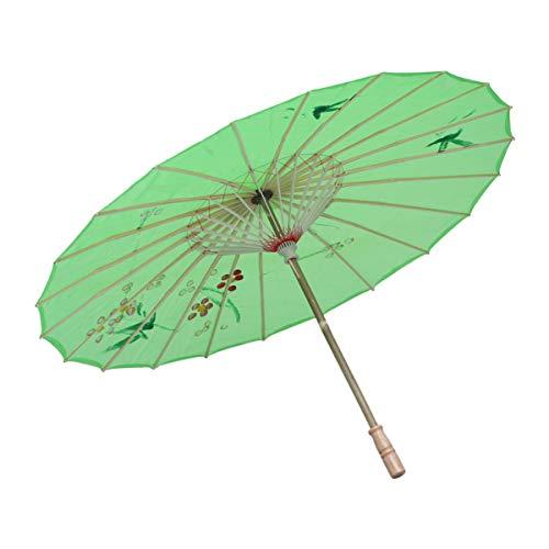 HEALLILY Ombrello giapponese per ombrelli di carta da olio cinese Ombrello da ballo Fotografia Prop per adulti o bambini (verde)