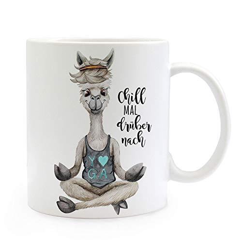 ilka parey wandtattoo-welt Tasse Becher Motiv Alpaka Yoga Spruch Chill mal drüber nach Kaffeebecher Geschenk Spruchbecher ts934